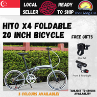 [Free Installation] HITO X4 Foldable Mountain Bicycle 20 Inch 7 Speed Lightweight Compact Foldable Pedal Shimano High Grade