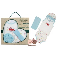 Lilsoft Baby 4 Pieces Baby Boy Gift Set Car Series 100% Cotton New Born Gift Set Superior quality 0 to 6 months old Baby Gift Set Best for Baby shower gift