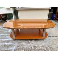 香榭二手家具*柚木色4尺 雙層茶几桌(附玻璃)-大茶几-矮桌-客廳桌-沙發桌-泡茶桌-和室桌-餐桌-洽談桌-置物桌-2手