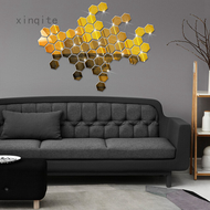 Hexagonal Stereo Mirror Living Room Wall Stickers Mirror Stickers