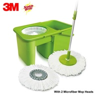 3M Scotch-Brite 360° Dual Spin Contractible Spin Mop Set with 2 Microfiber Mop Heads