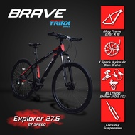 Brave Explorer 27.5 Alloy Mountain Bike Powered by Trinx (Matte Black, White, Red) FS3M
