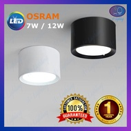 OSRAM 7W/12W LED ROUND SURFACE DOWNLIGHT MOUNT CONCRETE MOUNTED CEILING LIGHT LAMPU SILING LAMPU BULAT LAMPU HIASAN