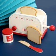 ไม้ครัวเล่นชุดของเล่น Pretend เครื่องปิ้งขนมปังเครื่องทำขนมปังเครื่องชงกาแฟเกมการศึกษาเด็กของเล่น