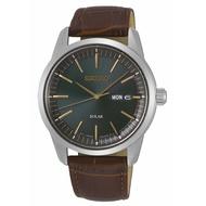 SEIKO 精工 V158-0BE0G(SNE529P1) 質感簡約太陽能時尚腕錶-綠X褐/40mm