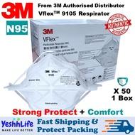 3M VFlex 9105 N95 1Box 50pcs [* KL/SGR FAST SHIP & READY STOCK] 3M N95 Respirator Foldable Mask [50 pcs 1Box] Haze/ Dust/ Mist Disposable Respirator/ Vflex Respirator/ Pm 2.5 / Flu Prevention - YeshhLife