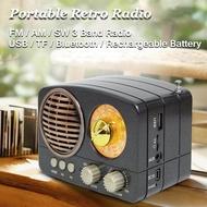 Portable Retro Radio AM FM SW + Bluetooth Speaker & TF Card Slot Rechargeable
