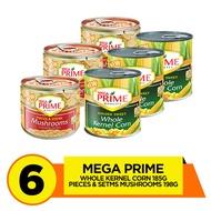 Mega Prime Kernel Corn 185g + Pieces and Stems Mushroom 198g Pack of 6
