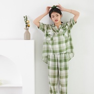 【Factory Direct】【Orient Star】2021Spring and Summer New Comfort Pajamas Pajamas Suit Women's Short-Sleeved Trousers#