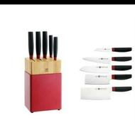 【ZWILLING德國雙人】6件刀具組 雙人牌刀具組   德國雙人 6件刀座組  瑞士MONCROSS一體成型不鏽鋼刀組