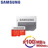 【SAMSUNG 三星】microSDXC 512GB R100/W90MB UHS-I U3 EVO+高速記憶卡-含轉卡(平輸-速達)