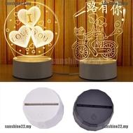 1個USB多邊形燈座,用於3D LED小夜燈7色燈座燈座