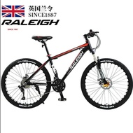 Raleigh Mountain Bike 24/27/30/33 Disc Brakes Shock Unisex Student Fitness Off-road Racing 27 Super High Carbon Steel Black Red Spoked Wheel 24-inch-CN