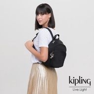 【KIPLING】未來質感黑拉鍊式小巧收納後背包-DELIA MINI