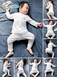 嬰兒睡衣服春秋薄款女寶寶純棉內衣套裝分體幼兒衛生衣紗布夏季空調