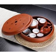 整套潮汕紫砂功夫茶具套裝家用陶瓷茶壺茶杯圓形茶盤簡約茶具套裝
