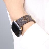 Applewatch2-3-4-5-6รุ่นหนังทั่วไปใช้นาฬิกาข้อมือสีน้ำตาล SE โลโก้ยอดนิยมสายเหล็ก I