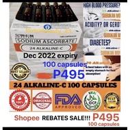 SALE!!! 100% AUTHENTIC 24 ALKALINE VITAMIN C  100 CAPS( SODIUM ASCORBATE 562.43 mg) !!! COD!!!