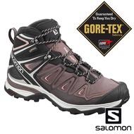 【SALOMON 法國】女 X ULTRA 3 GTX中筒登山鞋『胡椒灰/黑/珊瑚粉』408144