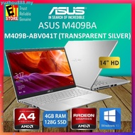 888ASUS M409B-ABV041T LAPTOP -SILVER (AMD A4-9125/4GB ONBOARD/128GB SSD/14 HD/RADEON R3/W10/1YR) + BAG