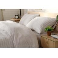 #S.S 可訂製 良品 淺咖條紋 天竺棉 精梳棉 純棉 雙人床包 單人床包組 棉被床罩寢具 ikea 無印 muji