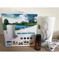 水氧機 涵氧機加濕器Mini Aroma Diffuser 4色小夜燈 芳香擴散 超音波霧化 夜燈花紋 附小瓶精油/量杯