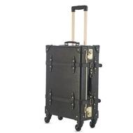 """24 """"กระเป๋าเดินทางเรโทรกระเป๋าเดินทาง Trip กระเป๋าเดินทางล้อลากกระเป๋าลากสีทึบกระเป๋าเดินทางหนัง"""