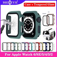 TPU Silicone Case+Tempered Glass For Apple Watch 6 SE 5 4 40mm 44mm i Watch 3 2 1 38mm 42mm Screen Protector coverage Bumper case for apple watch Series 6 5 4 3 2 1 SE Smart Watch Acceccories