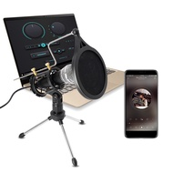 Capacitive Microphone for Phones with Stand for Computer IPhone Voice Recorder Mobile Recording Android Karaoke