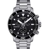 TISSOT 天梭 Seastar 1000 海洋之星300米潛水計時錶-黑x銀/45mm T1204171105100