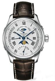 LONGINES 浪琴錶 L27394713巨擘月象四回撥多功能腕錶/白網紋面44mm