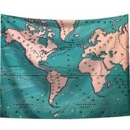 【半島良品】贈星星燈-世界地圖/北歐掛布掛毯/IG熱門(掛毯 掛畫 沙灘巾 背景布 沙發巾 ins拍攝布景)