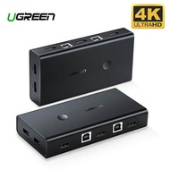UGREEN USB HDMI KVM Switch 4K Ultra HD HDMI Switcher Box and VGA to USB KVM Splitter for Sharing Monitor Printer Keyboard Mouse