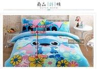 史迪奇加厚珊瑚絨法蘭絨男女孩卡通保暖床上用品單人雙人床包床組三四件套