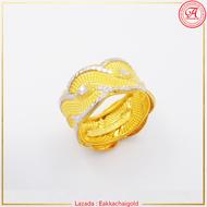 ห้างทองเอกชัย 3 แหวนทองคำขาวแท้ น้ำหนัก 1 สลึง ลายคลื่นทะเล มีใบรับประกันทองให้ ขายได้ จำนำได้
