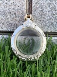 ตลับพระ กรอบพระ กรอบกลม เหรียญกลม ทรงกลม เงิน 80%  ขนาด สูง 2.8 cm กว้าง 2.7 cm