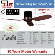 "Eco Minimalist 36""/46""/52"" PO ECO Ceiling DC Fan Black Cherry Wood Ceiling Fan with light"