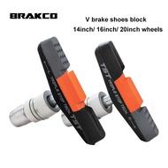 BRAKCO M-968V Bike V Brake Calipers Pads Shoes Blocks For 14/ 16/ 20 Inch Wheels Set Dahon Fohon Brompton 3Sxity United Trifold Folding Bicycle