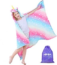 RIBANDS HOME Hooded Unicorn Blanket| Silky Soft Wearable Hoodie Blanket for Kids, Toddlers, Children| Animal Hoodie Cloak, Color Shown: Shining Night