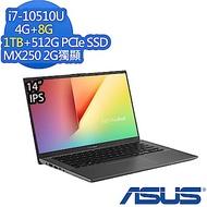 ASUS X412FL 14吋效能筆電 (i7-10510U/MX250 2G獨顯/4G+8G/1TB+512G PCIe SSD/Win10/VivoBook 14/星空灰/特仕版)