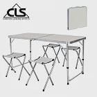 【韓國CLS】可調桌腳鋁合金折疊一桌四椅組/折疊箱型桌/折合桌/露營桌/鋁合金桌(兩色任選)白色