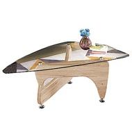 品家居 芬爾莉4尺木紋玻璃大茶几-120x72x44cm免組
