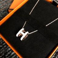 【瑤閣】Hermes項鏈 愛馬仕 pop H 橢圓  黑金  白金  粉銀 琺瑯 軟鏈