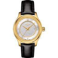 【TISSOT 天梭】18K金 Fascination 真鑽石英錶-珍珠貝x黑/30mm(T9242101611600)