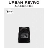 Disney_Mickey Series URBAN REVIVO Joint ชื่อกระเป๋าทรงถังผู้หญิงกระเป๋าไขว้ไหล่เดี่ยวกระเป๋าแฟชั่นนักเรียนวาดกระเป๋า
