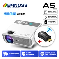 BANOSS A5s WiFi Mirror Screen LED Mini Portable 1080P Projector 4K LCD Home Theater Classroom Office Projectors