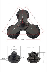 100PcsรถTwist-Lock Triple Suction Cup Base W/Hole AMPS W/1นิ้วmountสำหรับGoproกล้องสมาร์ทโฟนram Mounts