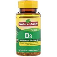 Nature Made, Vitamin D3, 25 mcg, 100 Softgels