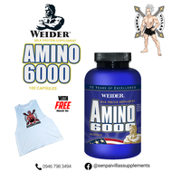 WEIDER AMINO6000 100 CAPSULES WITH FREE MUSCLE TEE