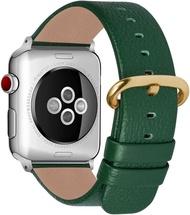 【美國代購】Fullmosa相容Apple Watch錶帶 皮革 Series 5 4 3 2 1 38mm 40mm深綠色+金扣